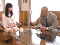 An older guy lays the pipe to a cute Japanese babe