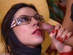 Curvy brunette with small tits being banged hardcore before swallowing cum