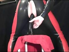 ff-fetish - deep dildo play in rubber catsuit