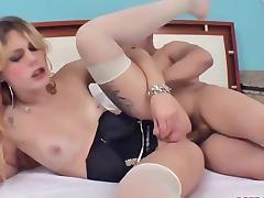 Sexy blonde shemale hottie anal creampied