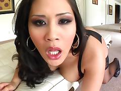 Asian with tongue piercing gives blowjob in POV before facial cumshot