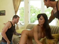 Lisa Ann gets fucked by two horny studs in MMF threesome clip