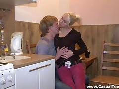 Skinny blonde Sabrina bends over a desk to get her pussy banged
