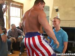 A few salacious homos show their cock-sucking skills at a party