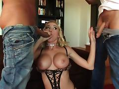 Madison Scott enjoys taking dick in her pussy and ass in MMF DP porn