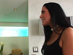 Brunette Veronica Rayne in thong rides cock doggystyle in her shaved pussy