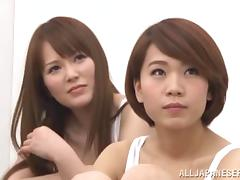 Adorable Japanese babes with nice tits getting hammered in a steamy group sex clip