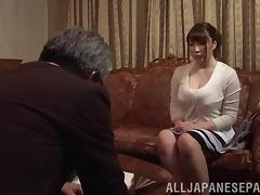 Chubby mature Japanese cowgirl enjoys getting drilled in a wild mmf threesome