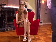 Asian hooker in high heels fingering and using toys in cunt during matsurbation