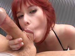 Gorgeous redhead with big tits enjoying a hardcore doggy style fuck