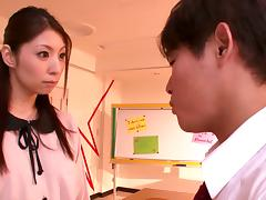 Sexy Asian teacher Hina Akiyoshi gets her pussy toyed at her work place