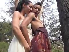 Interracial Lesbians Fuck In The Forest