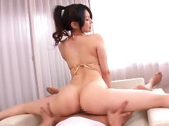 Flexible Japanese babe in  a bikini getting hammered hardcore