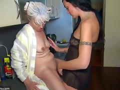 OldNanny Nice threesome, young couple is dealt with granny