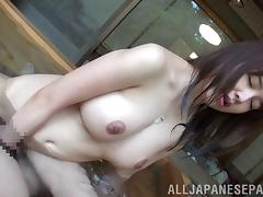 Chubby with big tits giving huge dick blowjob in pov pool shoot