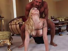 Blonde with long hair getting her juicy pussy banged hardcore doggy style