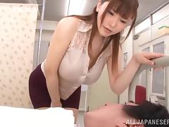 Marvelous dame with big tits in miniskirt riding huge dick hardcore while moaning
