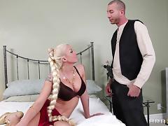 Tattooed blonde cougar takes cumshot after anal smashed Hardcore