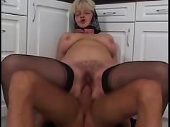 BBW GRANNY WITH BIG BOOBS FUCKED IN THE KITCHEN