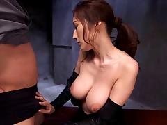 Asian babe gets cunt and mouth fucked in leather jump suit
