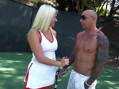 A tennis coach giver her a lesson then gives her the dick