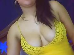 A fat busty girl on webcam