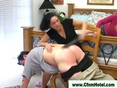 Cfnm femdom bitches spanking pathetic bad boy