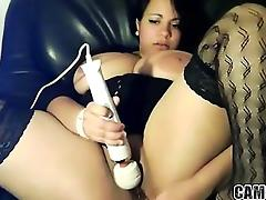 Big Tit BBW babe uses hitachi on dripping Pussy