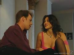 Cougar with fake tits in stockings yelling as her pussy is pounded hardcore missionary