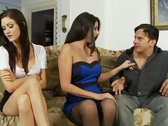 An older woman and a younger chick have a threesome with a guy