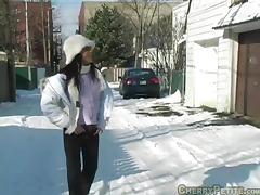 Porn Chick Cherry Petite gets a hot cock on snow in pov blowjob
