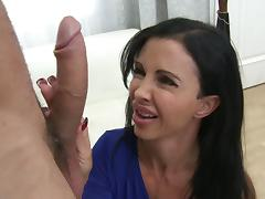 Busty brunette milf with big tits enjoys getting fucked hardcore by a big cock