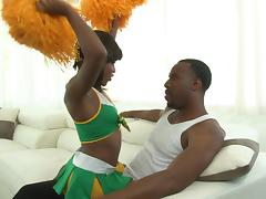 Ebony babe Karma May gets some big black dick and loves it