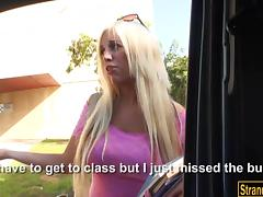 Big boobs hitchhiking teen Blondie Feser pounded in public