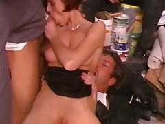 German slut double fucked in a storage room