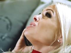 Slender blonde milf with big tits getting her face fucked hardcore