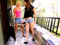 Sassy lesbian in shorts enjoying having her pussy licked in a reality shoot