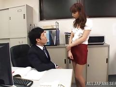 Smutty Asian redhead with a hot ass gets fingered then screwed on a couch