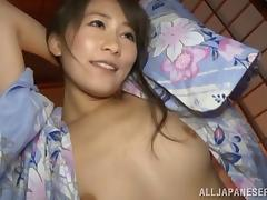 Remarkable Japanese amateur with a hairy pussy giving a steamy blowjob