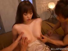 Ravishing Japanese pornstar in a thong screwed senseless in a mmf threesome
