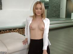 Slender blonde pornstar in a miniskirt gets cum on her tits after being fucked hardcore anal