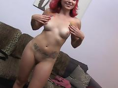 Dazzling redhead getting her shaved pussy banged hardcore in a pov shoot