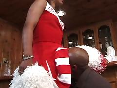 Chick ebony cheerleaders get pussy rammed
