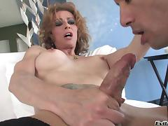 Tattooed shemale Jasmine Jewels in stockings gets her anal rammed hardcore