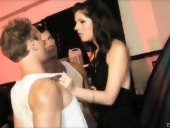 Sultry brunette with perky tits takes on two guys in a MMF threesome