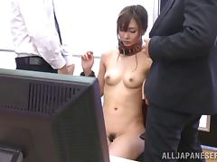 Collared Japanese office girl becomes their sex slave
