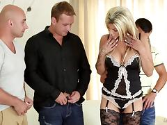 A babe in lingerie gets gangbanged by four guys at once