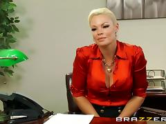 A blonde gets fucked in an office and ends with a mouthful of cum