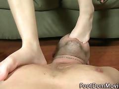 Domina foot slaps cock