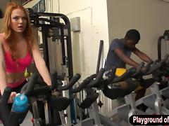 Redhead Farrah Flower fucked in the gym and cum showered